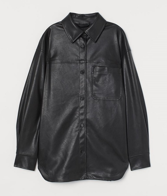 Faux Leather Shirt Jacket genuineleatherjacket