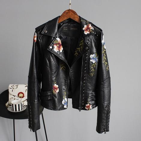 Women's Black Floral Leather Jacket