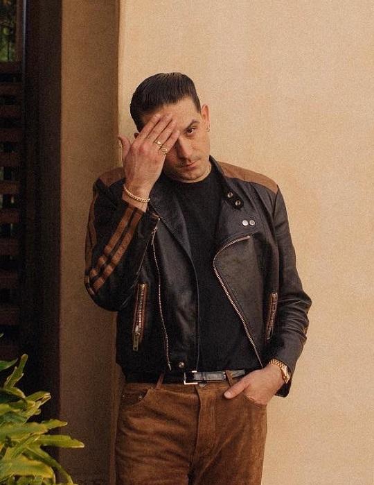 g-eazy black and brown biker leather jacket