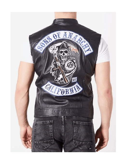 Jax Teller Charlie Hunnam SOA Sons of Anarchy Faux Leather Vest Back
