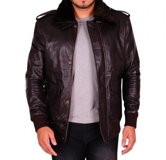 Men Dark Brown Fur Leather Jacket