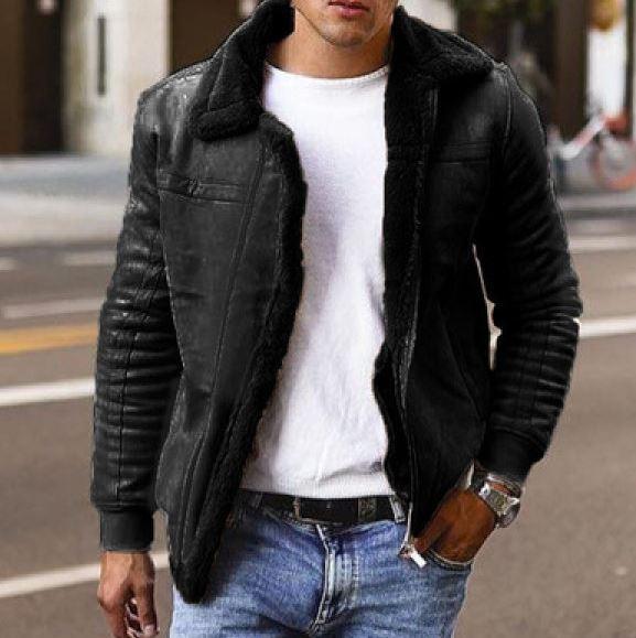 Casual Black Fur Collar Jacket For Men