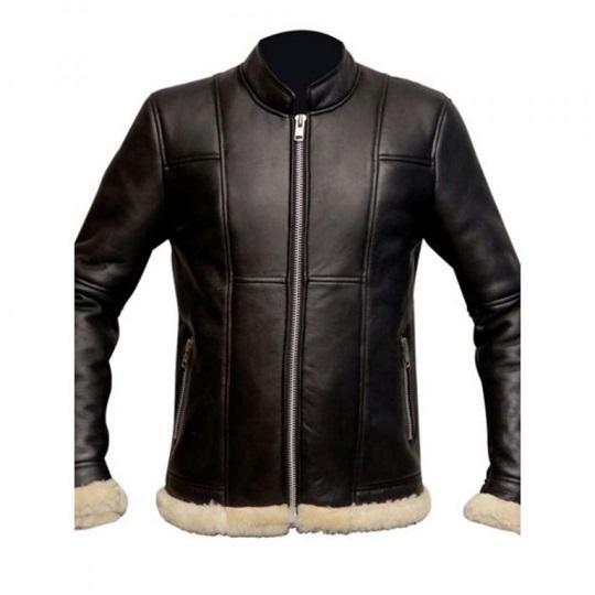 Slim Fit Fur Black Biker Jacket For Men