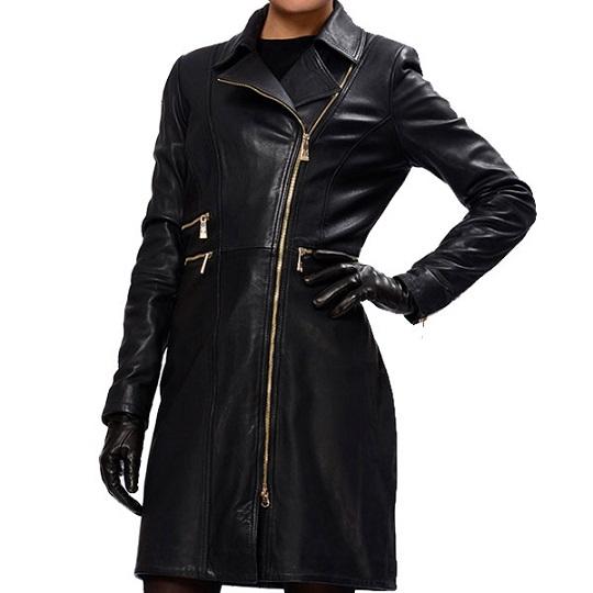 Women's Lopsided Zipper Leather Coat