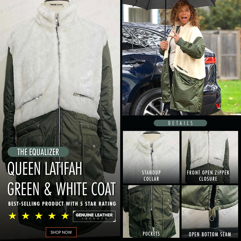 Queen Latifah Green and White Coat