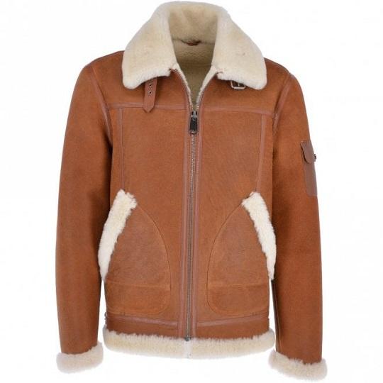 Eredin Luxury Sheepskin Leather Pilot Tan Brown Jacket