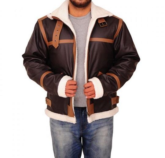 Brown Fur Shearling Collar Sheepskin Leather Jacket For Men