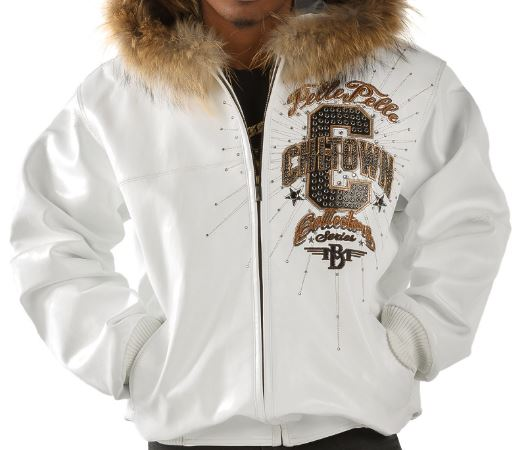 Pelle Pelle Chi-Town Collector Series White JacketFur Collar