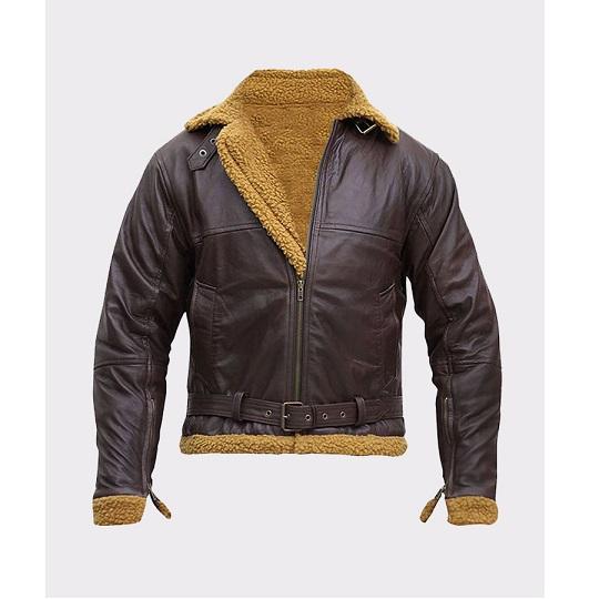 B3 Flying Aviator Shearling Bomber Leather Jacket