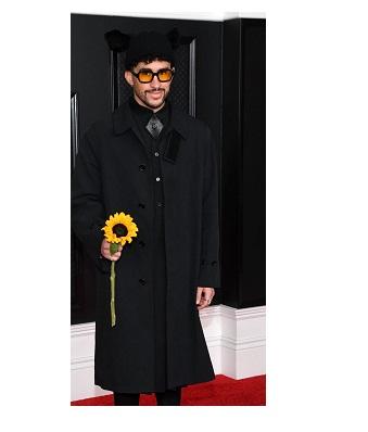 Grammys 2021 Bad Bunny Black Coat