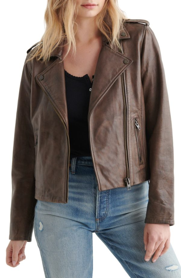 Cropped Brown Leather Moto Jacket