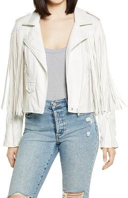 Cropped Faux Leather Fringe Jacket