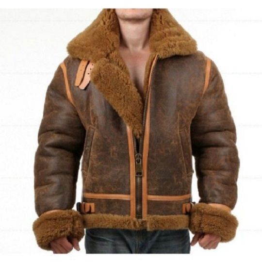 Men's Distressed Faux Shearling Bomber Leather Jacket Front side view