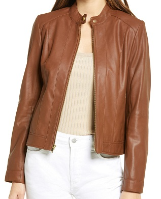 Double Face Cropped Leather Jacket