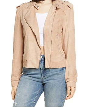Faux Suede Moto Cropped Bomber Jacket
