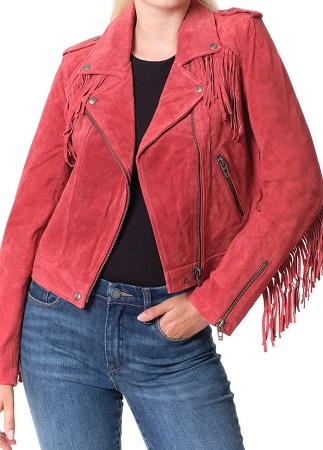 Fringe Trim Crop Moto Jacket