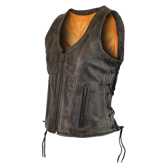 Ladies Distressed Brown Lace Side Leather Vest