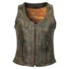 Women's Distressed Three-Zipper Cowhide Brown Leather Vest