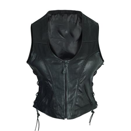 Ladies High Mileage Lace Sides Leather Vest