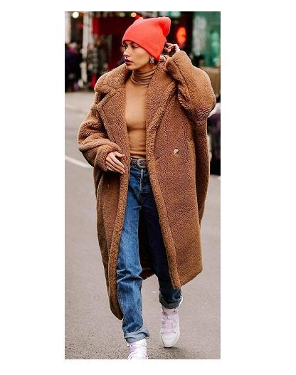 Hailey Bieber Oversize Fit Teddy Coat