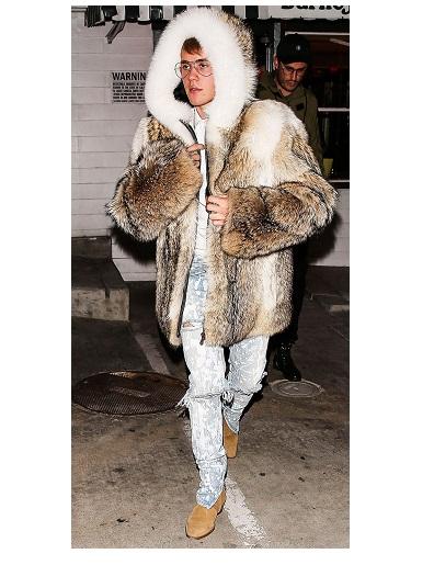 Justin Bieber Oversize Fur Jacket