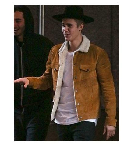 Justin Bieber Brown Shearling Jacket