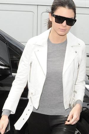 Kendall Jenner White leather Jacket