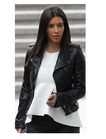 Kim Kardashian Black Motorcycle Leather Jacket