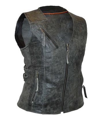 Ladies Distressed Gray Vest with Buckles