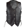 Ladies Naked Leather Lace Sides Vest