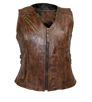 Ladies Vintage Brown Buckled Leather Vest