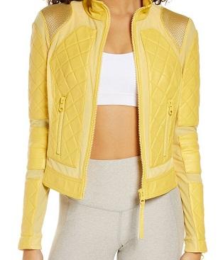 Yellow Leather & Mesh Moto Jacket