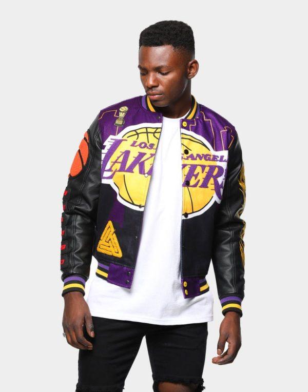 Men's Black Pyramid Logo Varsity Los Angeles Lakers Jacket
