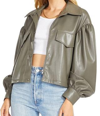 Love on Balloon Sleeve Crop Leather Jacket