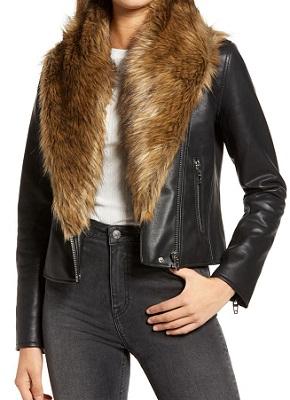 Cropped Faux Leather Moto Jacket