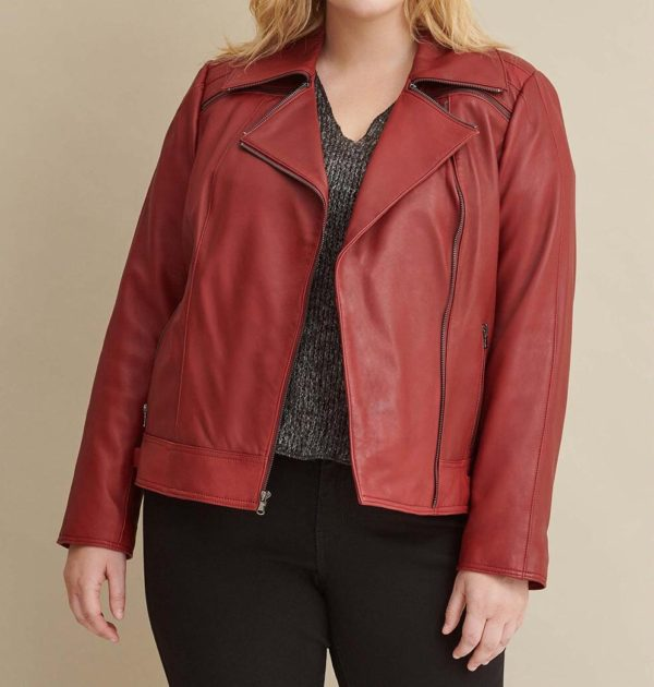 Plus Size Leather Jacket with Zipper Details