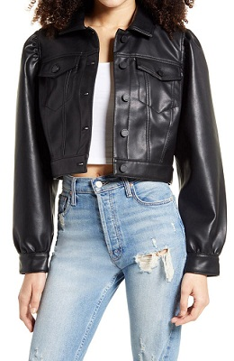 Puff Sleeve Faux Leather Cropped Jacket