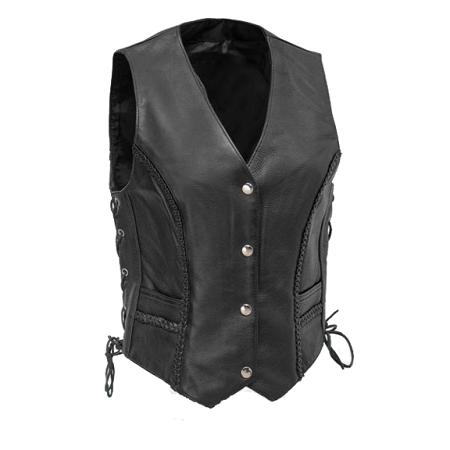Ladies Lace Side Black Leather Vest