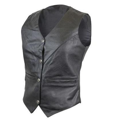 Women's Black V-Neck Biker Leather Vest