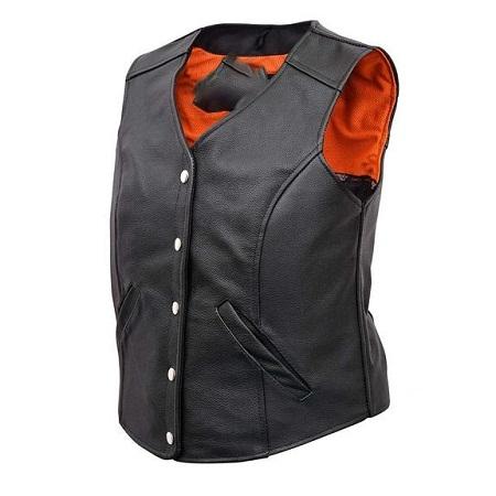 Ladies Five Snap Split Leather Vest