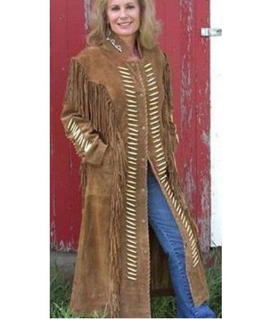 Women's Duster Fringes Leather Long Coat