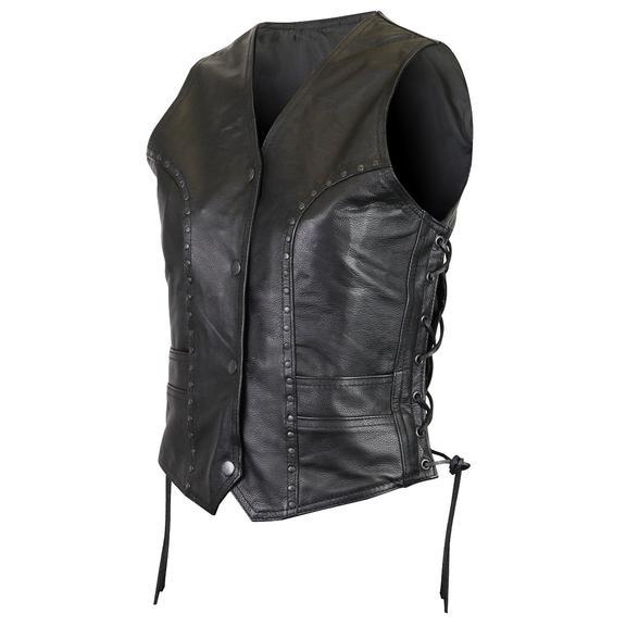 Women's Premium Cowhide Studded Leather Vest