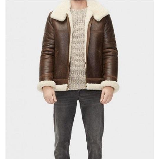 Men's Aviator Sheepskin Shearling Leather Jacket