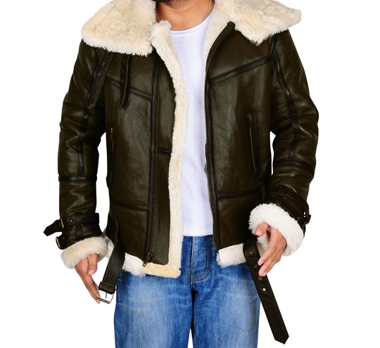Men B3 Bomber Dark Green Shearling Leather Jacket Frontside view
