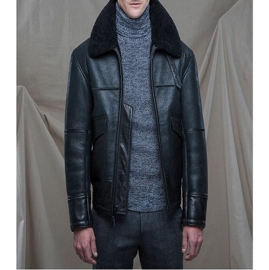 Men's Black B3 Bomber Shearling Collar Leather Jacket