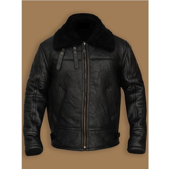 Men's B3 Aviator Bomber Shearling Black Jacket