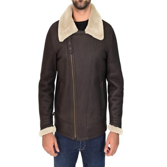 White B3 Shearling Brown Bomber Leather Jacket For Men Frontside view