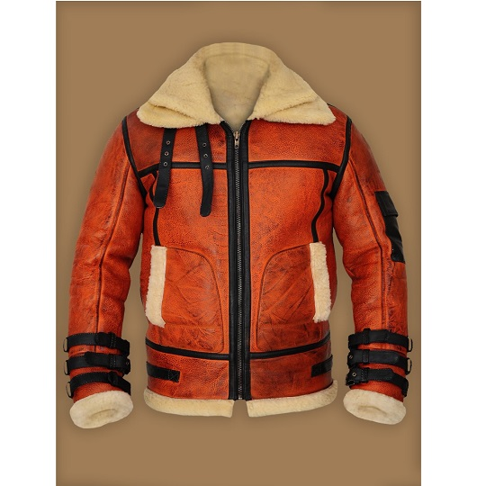 Men's Distressed Tan Brown Shearling Leather Jacket Frontside