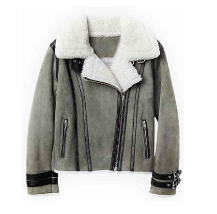 Asymmetrical Shearling Grey Leather Jacket