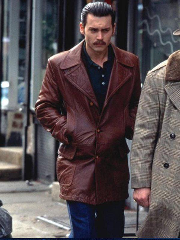 Johnny Depp Donnie Brasco Brown Leather Jacket